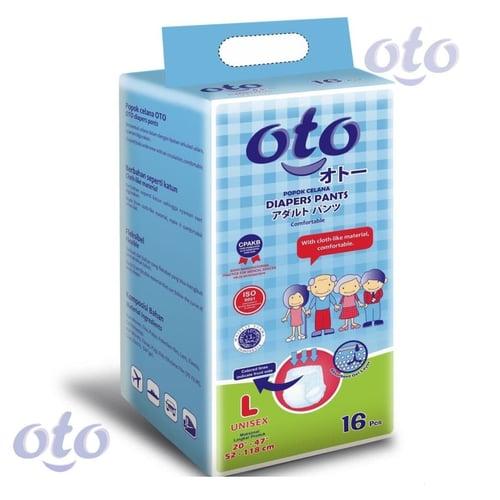 OTO Diapers PANTS / Popok Dewasa model Celana ukuran L-isi 16 pcs (OTP-16L)