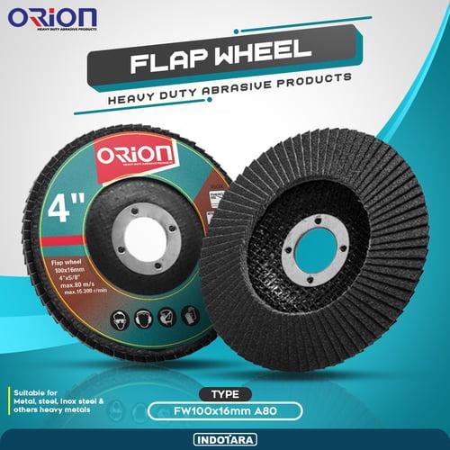(20 Pcs) Mata Gerinda Amplas Flap Wheel Orion - FW100x16mm A80