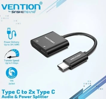 Vention Audio Adapter USB Type C Male to 2 USB Type C Female