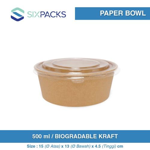 PAPER BOWL KRAFT BIODEGRADABLE + TUTUP/LID 500 ML