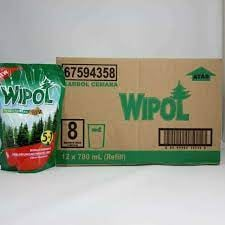WIPOL Pembersih Lantai Cemara Hijau Merah Karton 12 Pouch 780ml