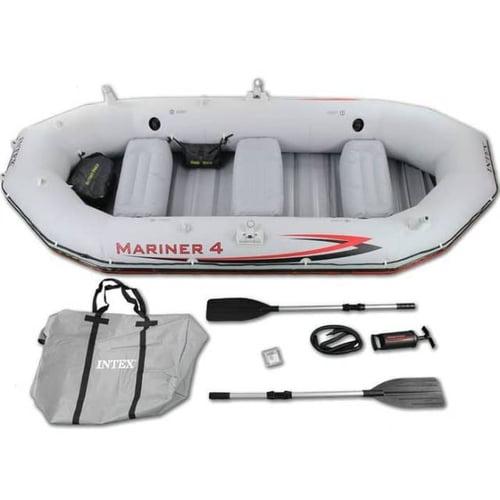 INTEX 68376 Perahu Karet Mariner 4 Inflatable Raft River Lake Boat Set
