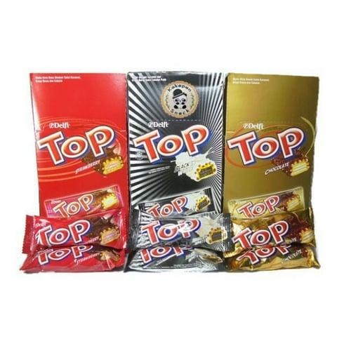 Delfi Wafer TOP Chocolate, Black in White, dan Strawberry Kemasan mini @ 24 pcs x 9gr