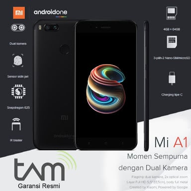 Xiaomi Mi A1 Black - 4/64 - Garansi Resmi TAM