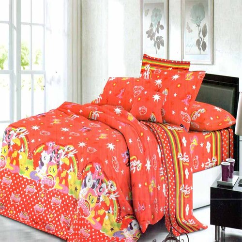 ROSEWELL Sprei Microtex Disperse 160x200cm Little Pony Red