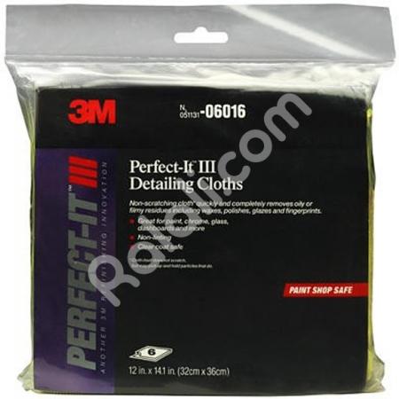 3M Lap Microfiber 6016 Perfect - Hitam 1 pack Isi 6 lap