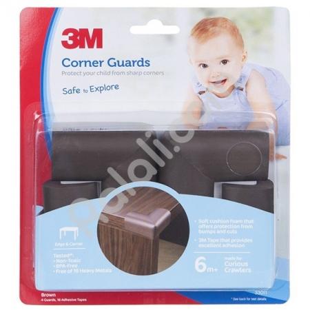 3M COMMAND SC-31 Child Corner Guard Brown - Pelindung Anak Dari Cedera Akiba Siku Meja Tajam - 4Siku/Pack - Cokelat