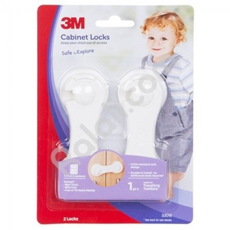 3M COMMAND SC-42 Child Cabinet Lock - Pegunci Kabinet Lemari - Melindungi Anak dari Terjepit Lemari - Putih - 2Pcs/Pack