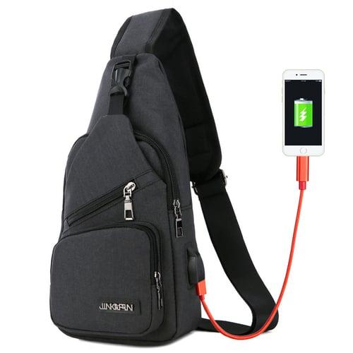 CH20 Black Tas Selempang Slempang USB Extender Kanvas Canvas Import Impor