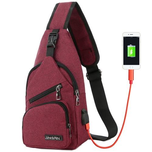 CH20 Red Tas Selempang Slempang USB Extender Kanvas Canvas Import Impor
