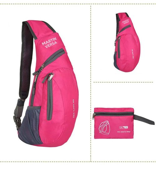 Martin Versa Tas CH16 Pink Kanvas Nylon water resistant Slempang Slingbag Import