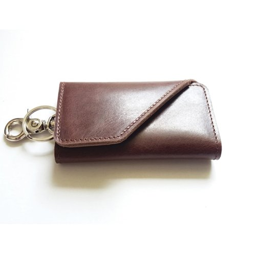 dompet stnk kulit asli sapi warna coklat tua model lipat tiga (gantungan kunci mobil)