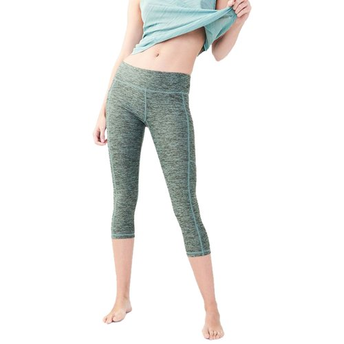 Celana Olahraga Senam Yoga Gym Fitness Lari LLD Side Pocket Crop Leggings - Mist Green 08LLDC001