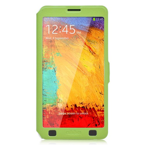 harga Ahha Arias Magic Leather Flipcase Casing for Samsung Galaxy Note 3   Green Ralali.com