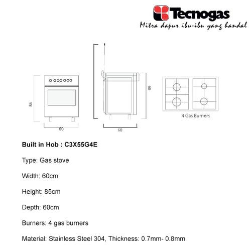 TECNOGAS Kompor Free Standing C3X55G4E
