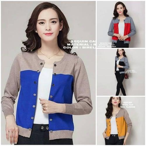 JN - 0418 - Outwear Jaket atau Sweater Sequin cardy