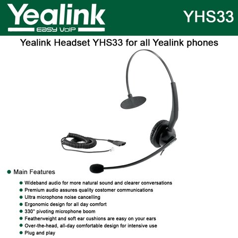 YEALINK Voip Professional Call Center Headset YHS33