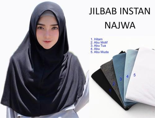 Kerudung Jilbab Hijab Murah Khimar Najwa Instan Murah Grosir Jilbab - Abu Series