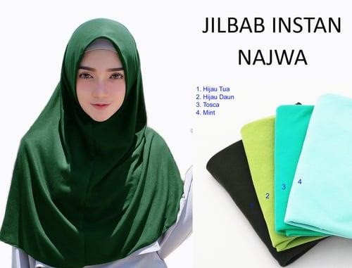 Kerudung Jilbab Hijab Murah Khimar Najwa Instan Murah Grosir Jilbab - Hijau