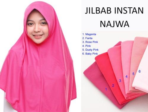 Kerudung Jilbab Hijab Murah Khimar Najwa Instan Murah Grosir Jilbab - Pink