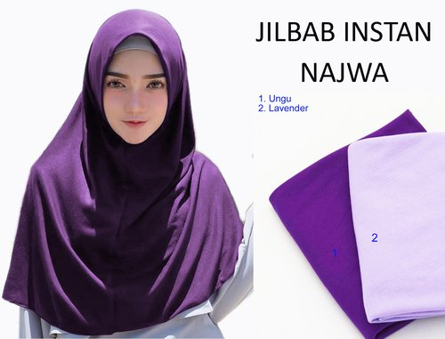 Kerudung Jilbab Hijab Murah Khimar Najwa Instan Murah Grosir Jilbab - Ungu
