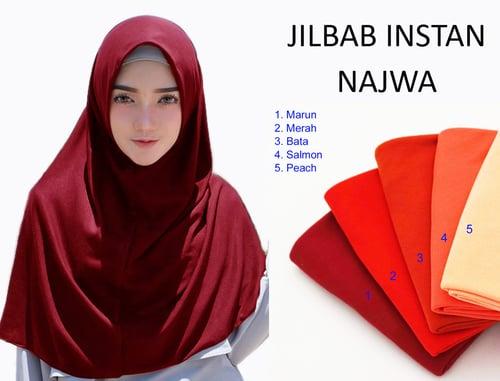 Kerudung Jilbab Hijab Murah Khimar Najwa Instan Murah Grosir Jilbab - Merah