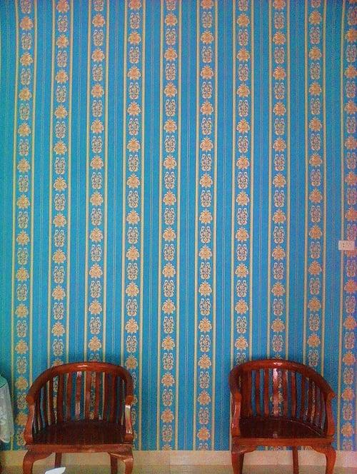 Wallpaper Dinding Classic garis biru gold Roll Kecil