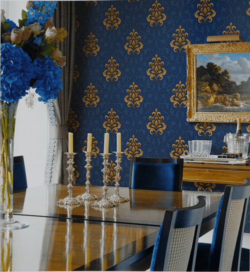 Wallpaper Dinding Motif Classic Biru