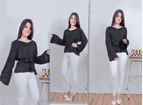 Blouse Brice Hitam SW blouse wanita rayon bangkok hitam