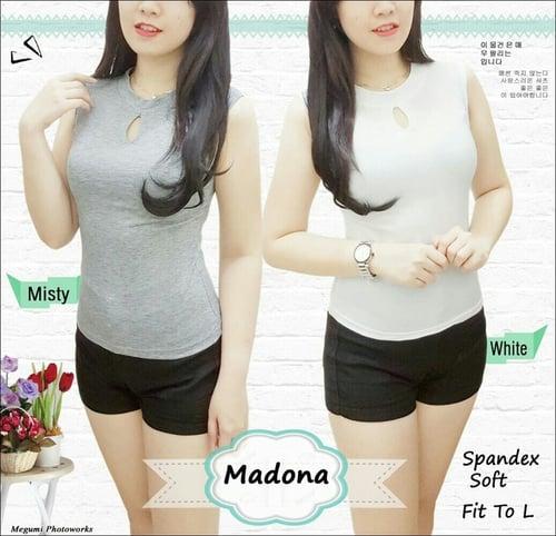Madona RO blouse wanita spandex hitam dan putih