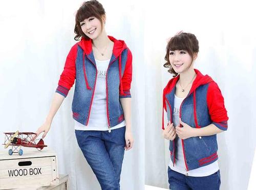 [Jaket Chery merah LO] jaket wanita jeans washed merah