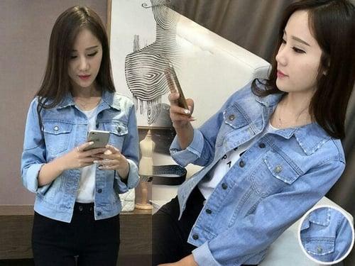 [jaket Nayla jeans RO] jaket wanita jeans wash biru muda
