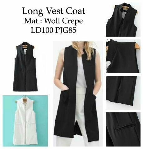 [long vest coat RO] vest wanita woll crep hitam dan putih