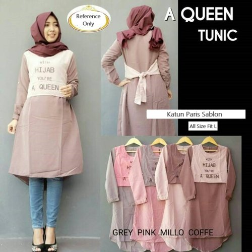 Baju Atasan Muslim Queen Mosa Tunic Katun Paris Tunik Sablon