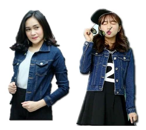 Jaket crop light & navy blue | jacket jeans wanita