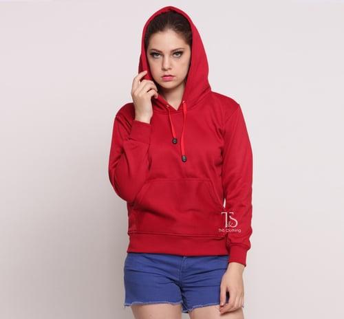 Jaket Hoodie Jumper Merah MAROON Polos Wanita M - XL