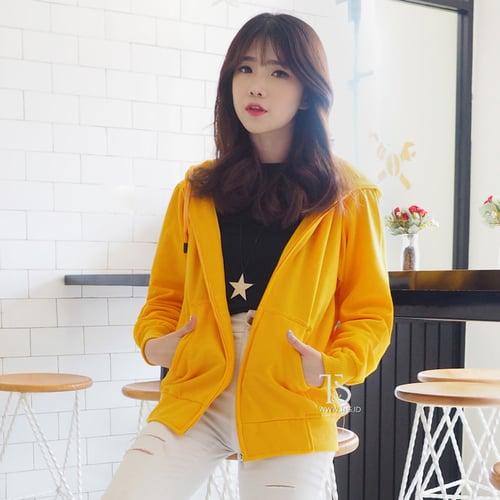 Jaket Hoodie Zipper Kuning Kenari Polos Wanita M - XL