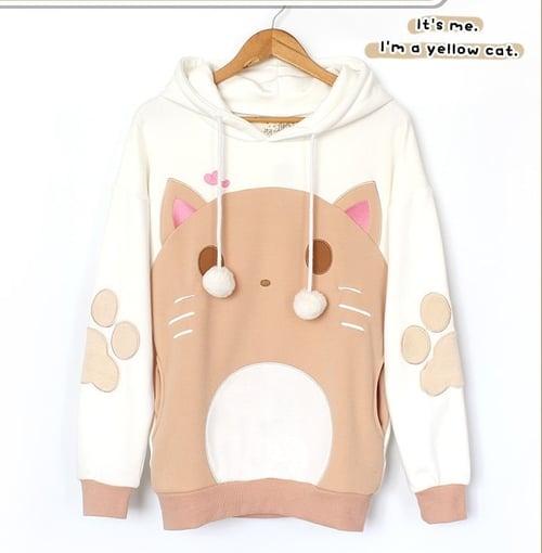 Jaket Sweater Big CREAM Cat Hoodie Ear PRIA / WANITA