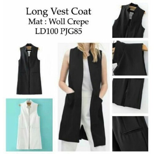 Long vest coat black and white