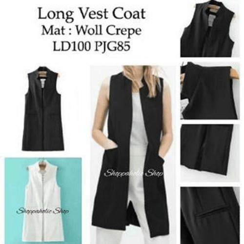 Pakaian Wanita Long Vest Hitam