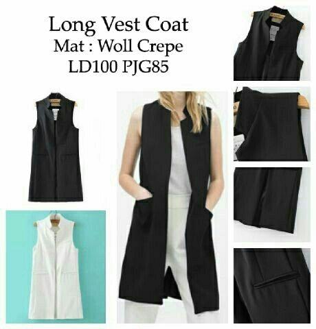 R long vest coat (hitam, putih)