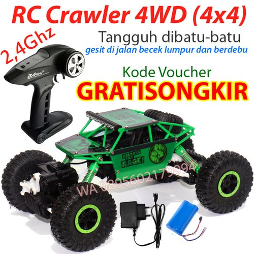 RC Rock Crawler Jeep Merah Hijau