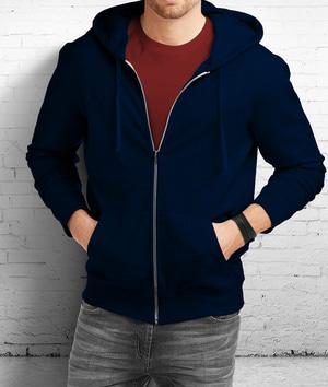 Size XXL - Jaket Sweater Polos Hoodie Zipper Polos Biru Donker