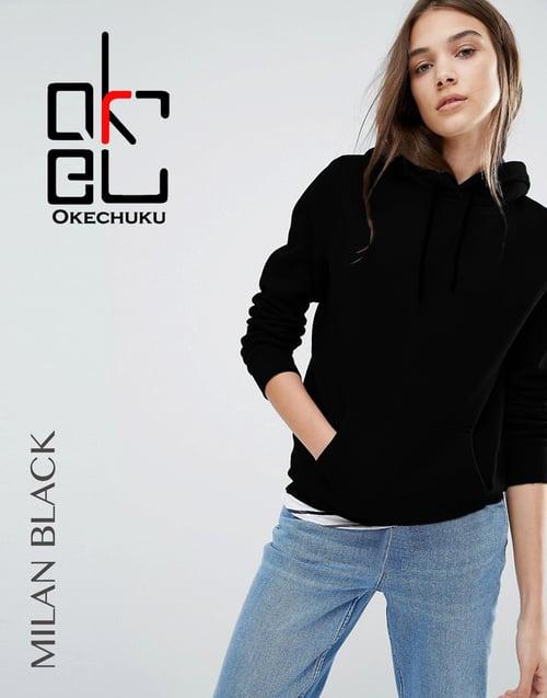 Sweater Topi Polos Basic Wanita Baby Terry Black Okechuku