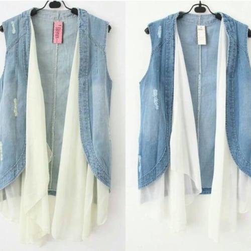 vest jeans layer krem / putih