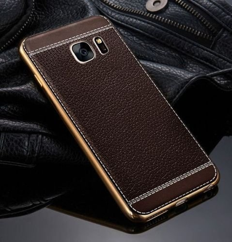 NEW Tpu Leather Metal Bumper Case Samsung Galaxy S7 Edge