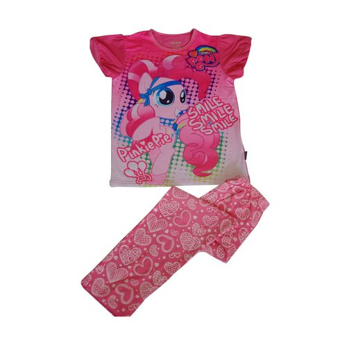 Ailubee Little Pony Pinkiepie Set Love Pants Pakaian Anak - Pink