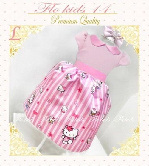 Flower Kids Dress Kerah Kitty Pink Lrg