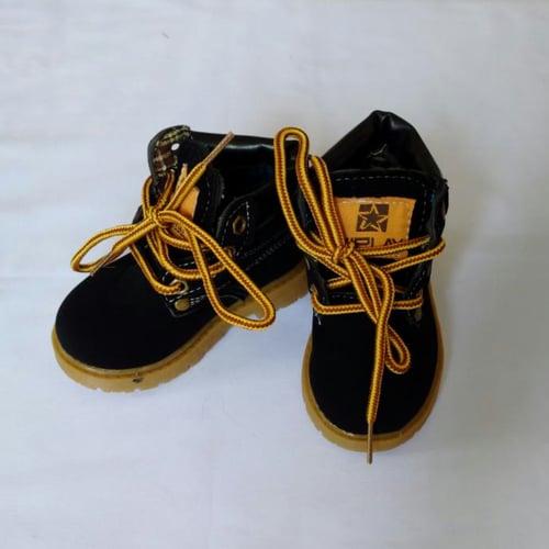 GBS Semi Leather Boot Sepatu Anak Laki-laki - Black