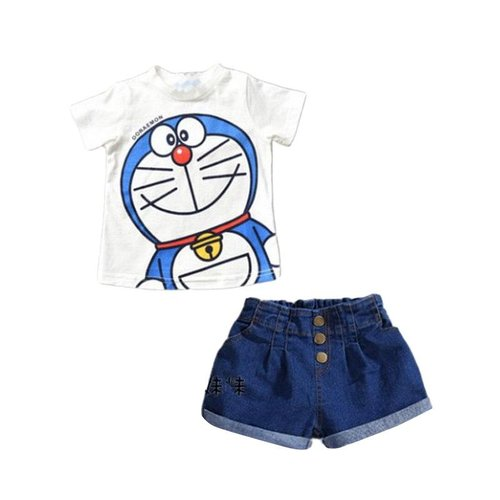 Hi-MM Doraemon Top Set Jeans White Setelan Baju Anak